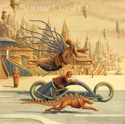 snow crash cover (source: http://thenewcaferacersociety.blogspot.com/2011/06/sewert-snow-crash-book-cover.html)